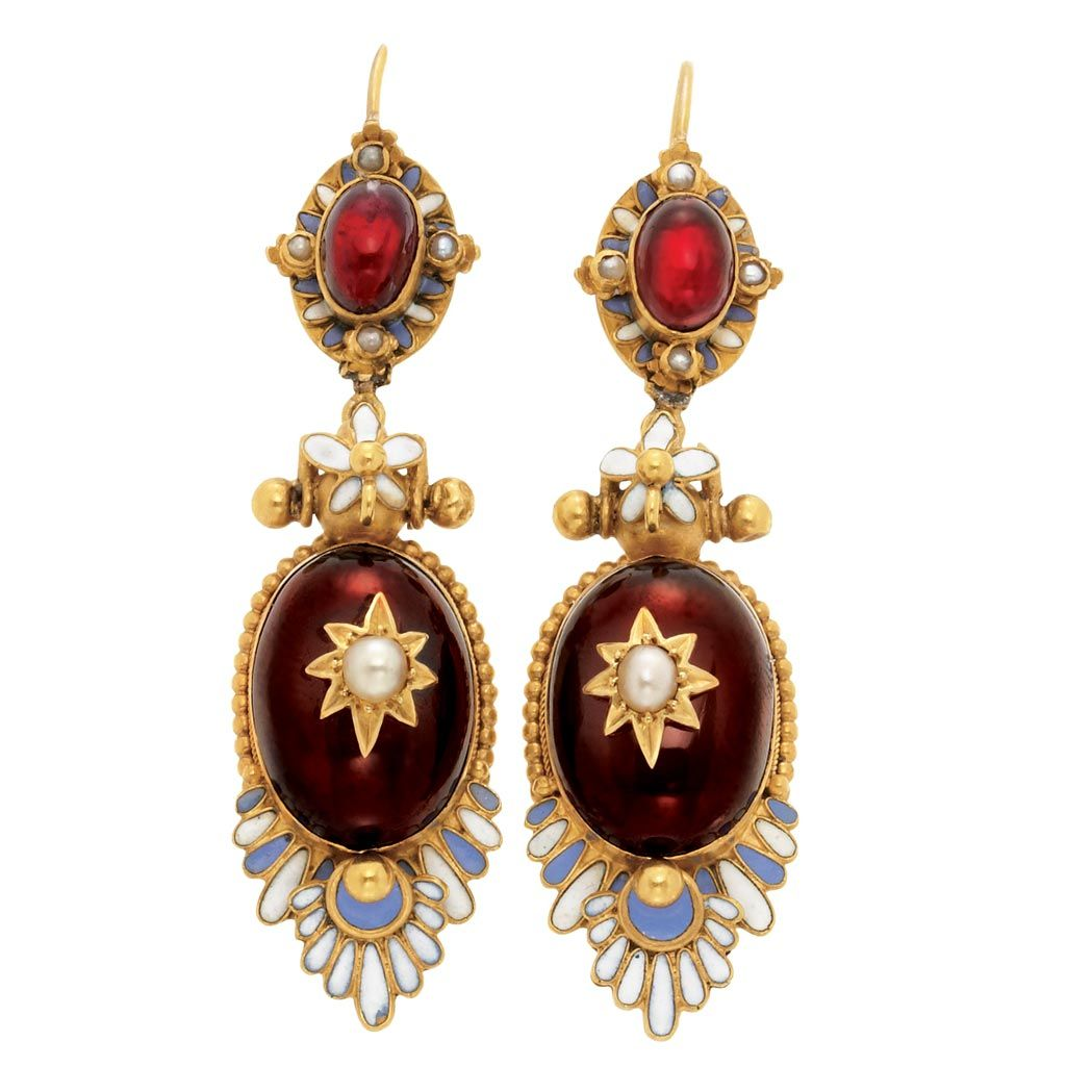 Pair Of Holbeinesque Gold, Cabochon Garnet, Periwinkle Blue Enamel And Split Pearl Pendant-Earrings   c.1870   -   Doyle New York