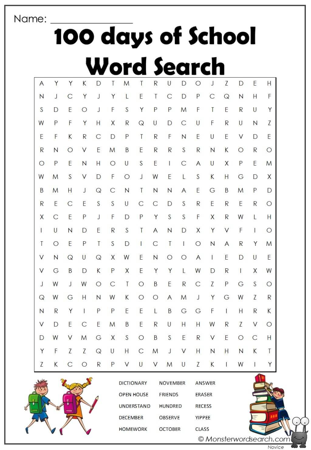 100 Days Of School Word Search