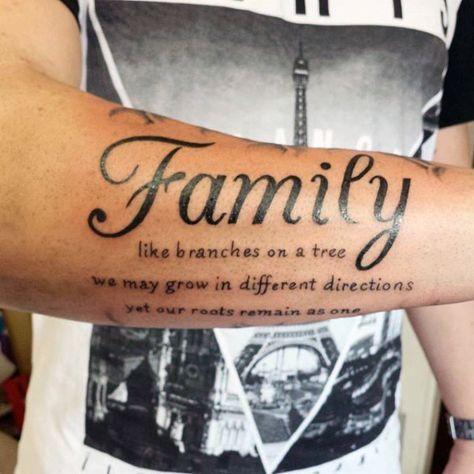 Jet Black Ink Family Tattoo Saying Male Forearms Tatuajes