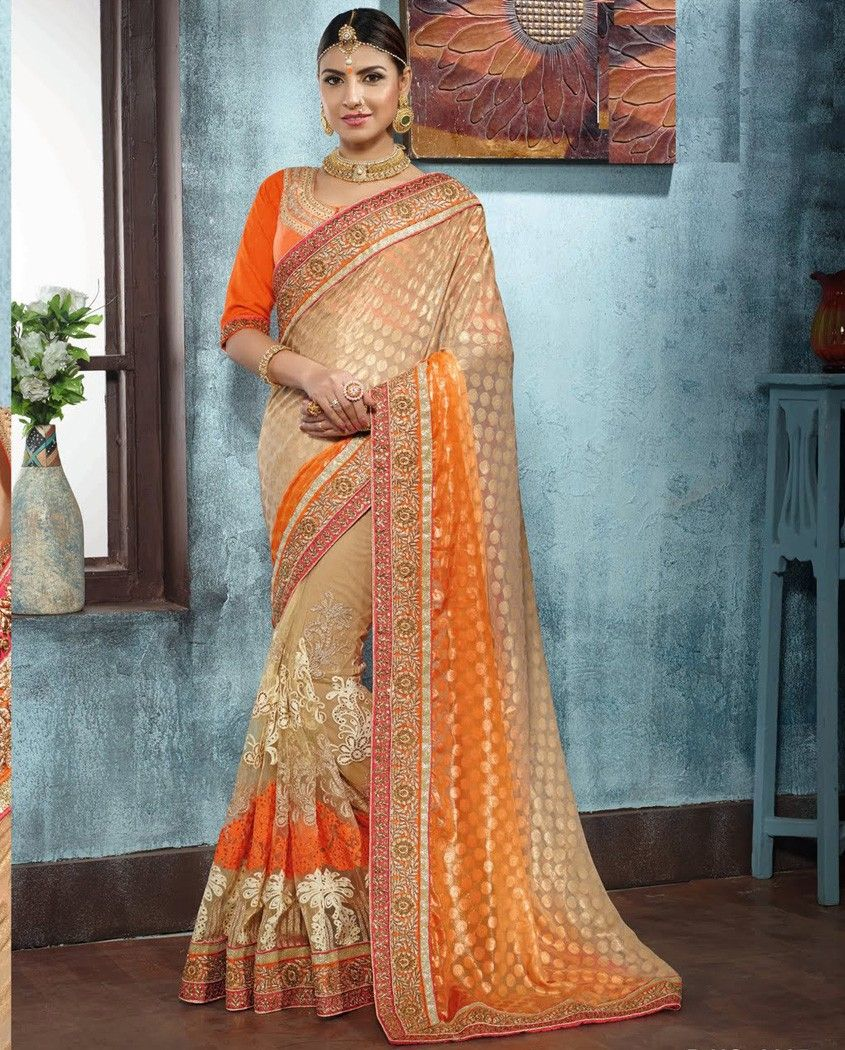 Beige and orange shaded sari with heavy embroidered pleats beige