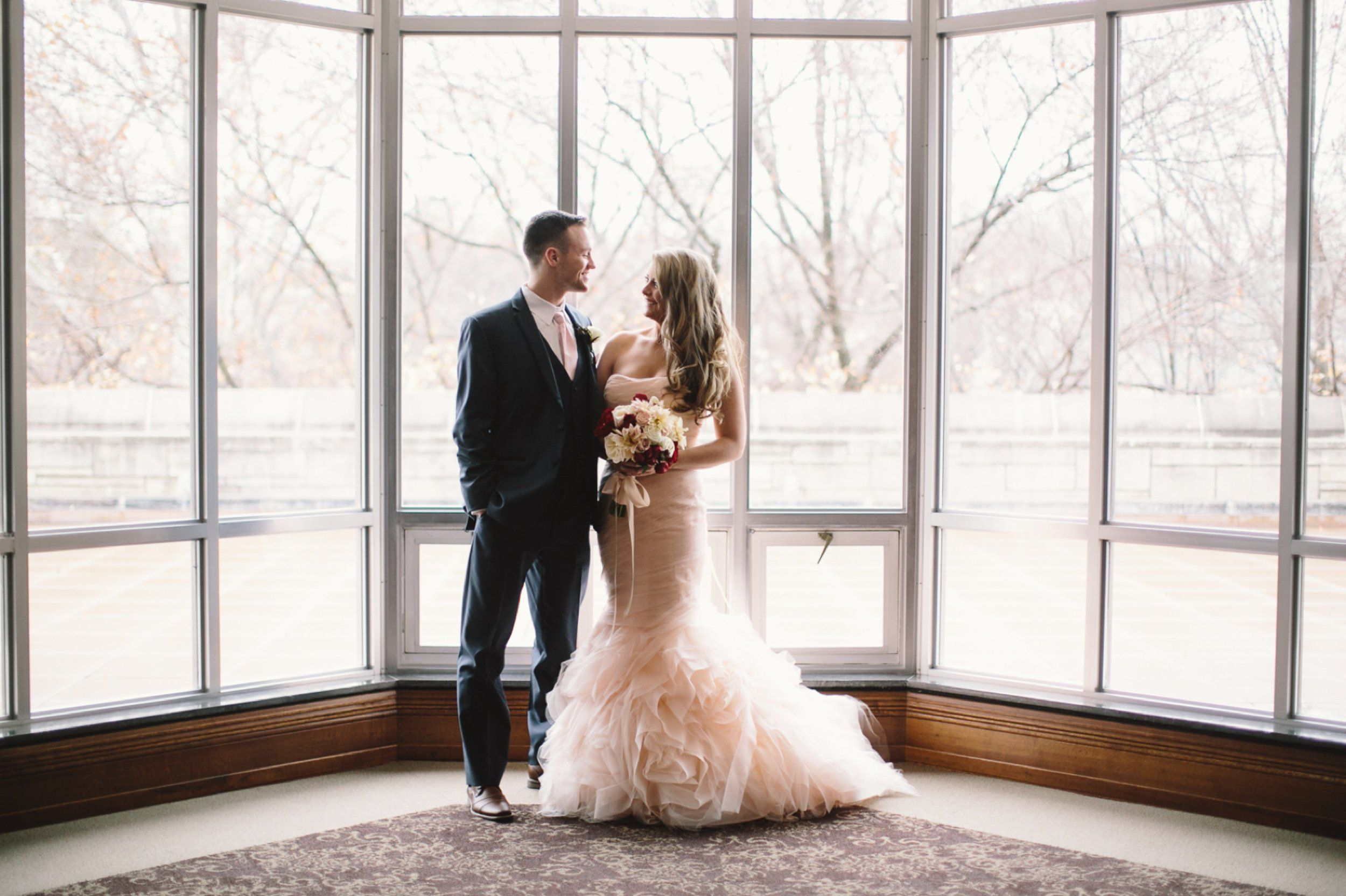 You don't need to worry about rain on your wedding day. You can still have beautiful photos indoors. Indiana University Wedding