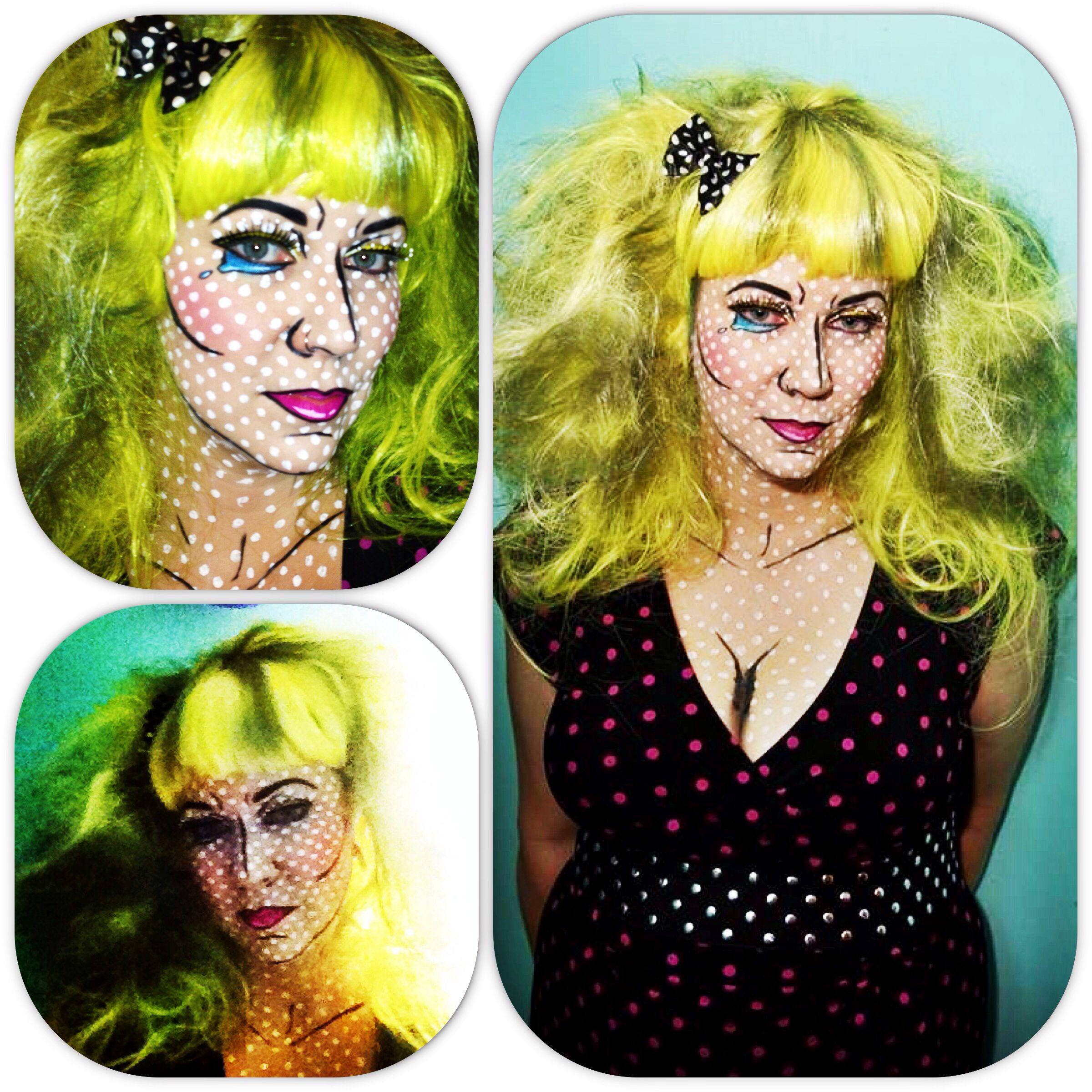 Lichtenstein comic book pop art halloween makeup look MAKE UP FOR EVER  Makeup by Melissa Nicholl www.stellardesignz.ca