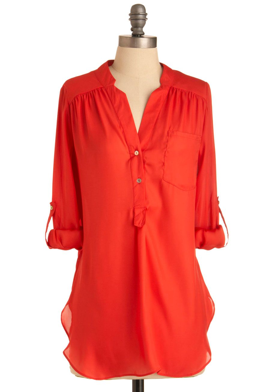 dcb7eba2f Pam Breeze-ly Tunic in Tomato - Red, Solid, Buttons, Pockets, Long Sleeve,  3/4 Sleeve, Long, Casual, Sheer, Best Seller, Button Down, V Neck, Variation