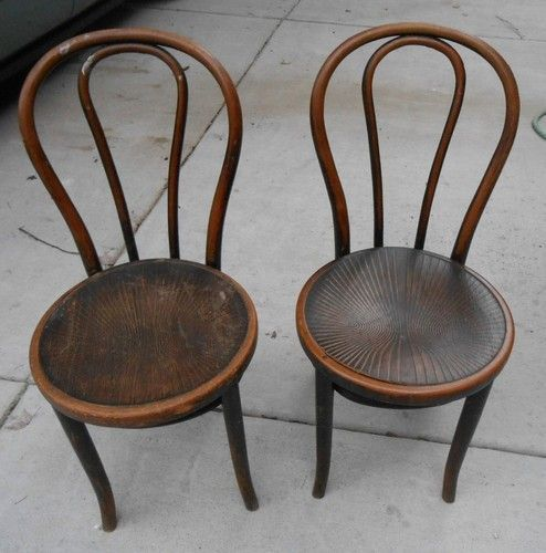 Superb Pair Vintage Bent Wood Cafe Chairs Wood Seats One Marked Thonet .