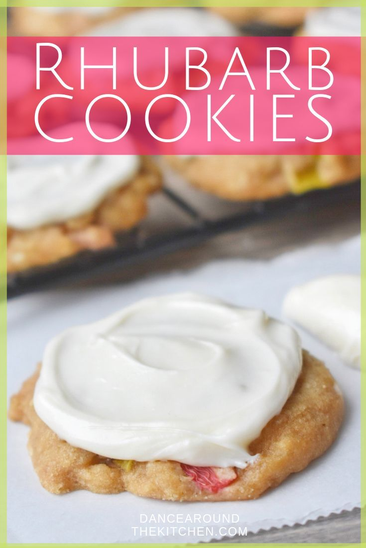 These Rhubarb Cookies are the perfect afternoon snack or dessert onthego  They're soft, sweet, studded with rhubarb and topped with a smooth cream cheese frosting! is part of Rhubarb cookies -