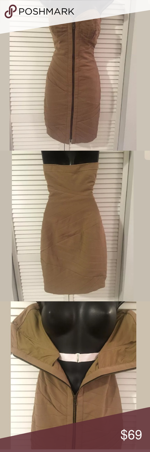 Tracy Reese Bandage dress Mocha. Polyester spandex blend. Hidden elastic support closure. Tracy Reese Dresses Strapless