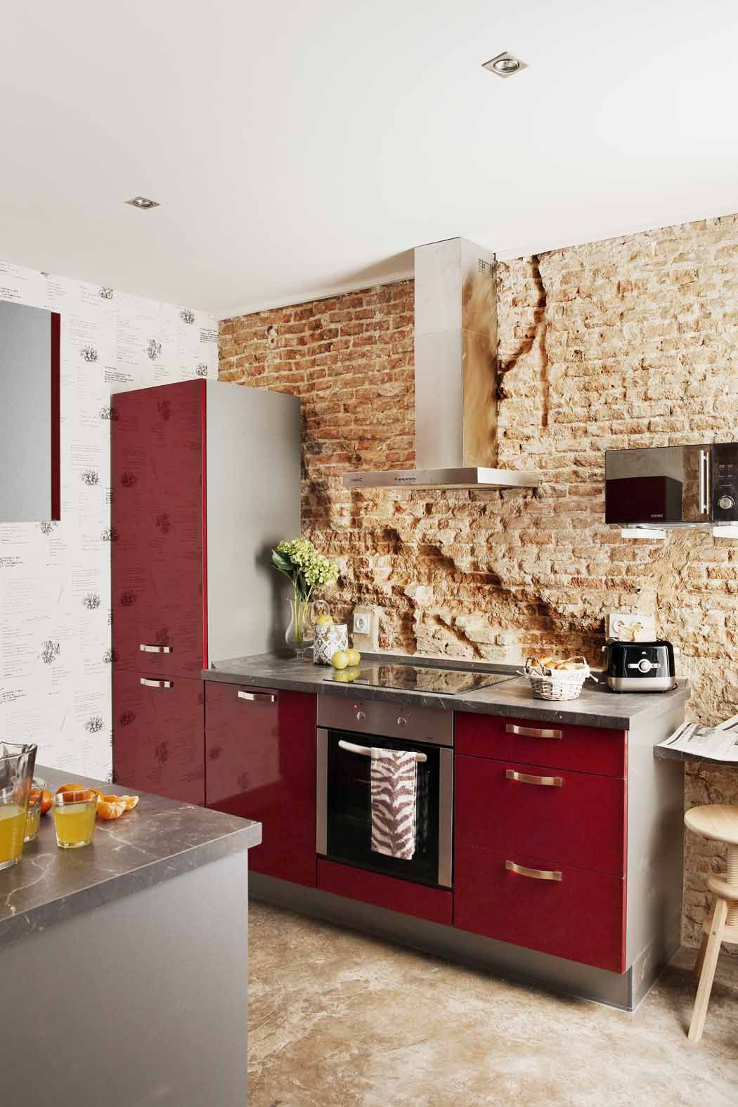Kitchen exposed bricks cocina con ladrillos a la vista - Ladrillos para cocinas ...