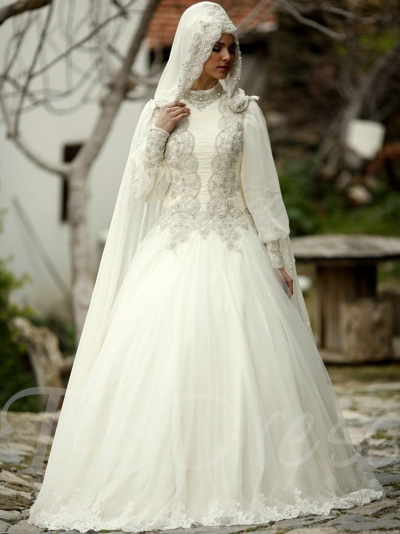 Beaded lantern sleeves muslim wedding dress in wedding stuff
