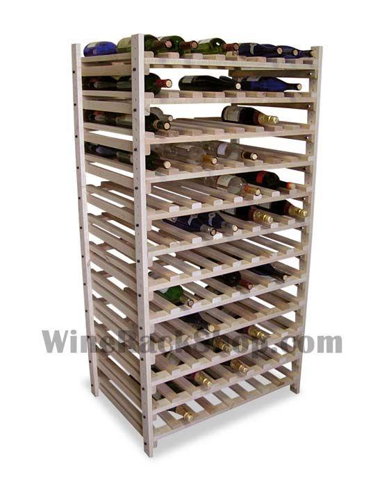 192 Bottle Double Deep Maple Wine Rack Unfinished