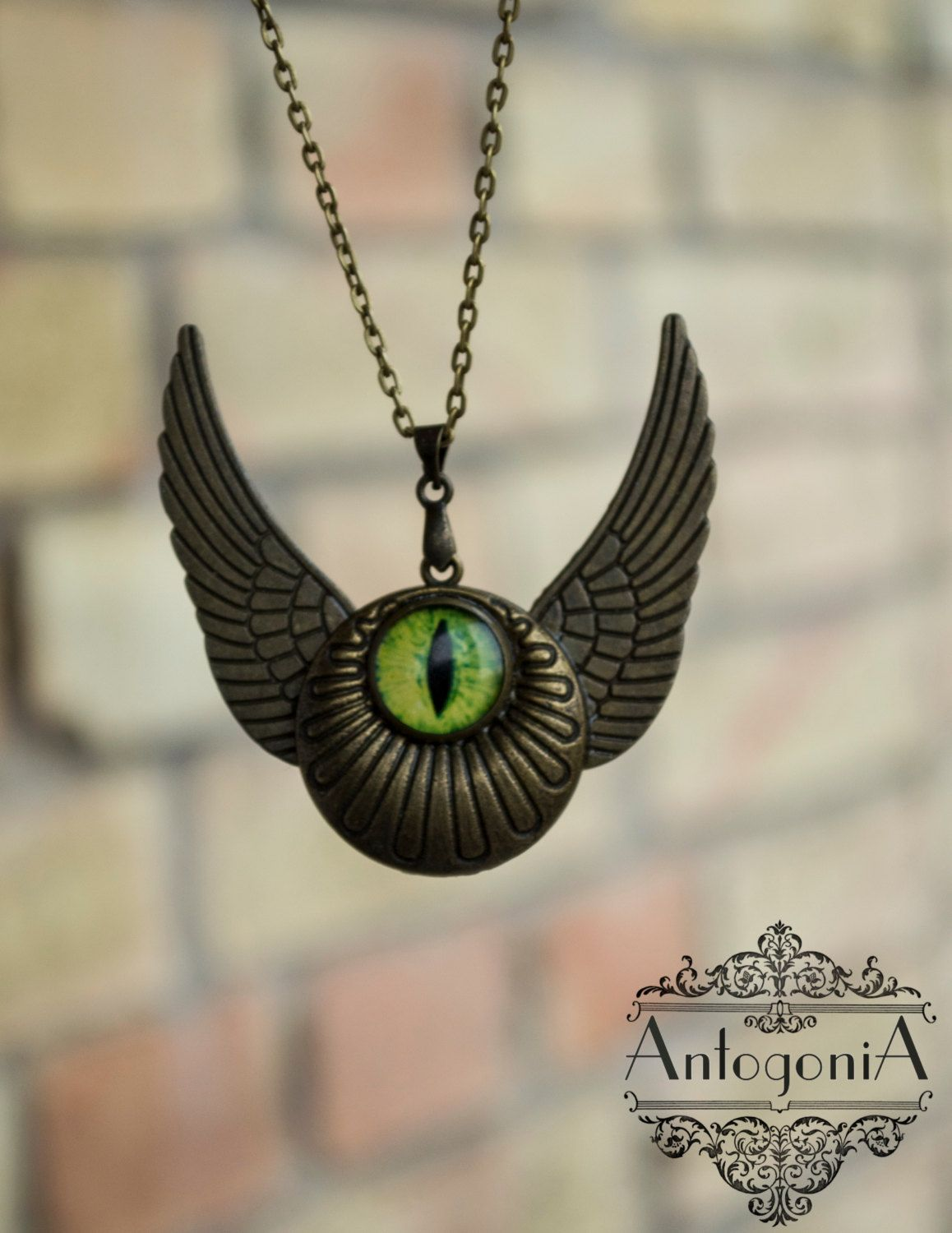 snitch winged harry freak potter flying pendant jewelry eye pin eyeball steampunk with necklace green