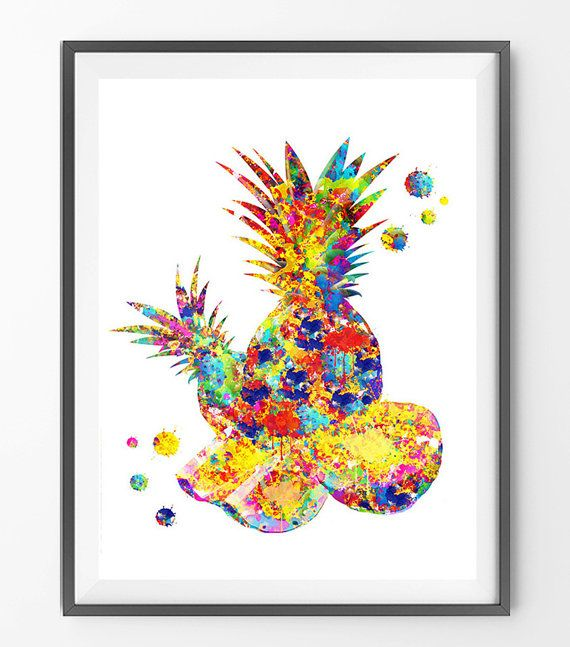 Pineapple cut watercolor Print fruit composition by MimiPrints ...
