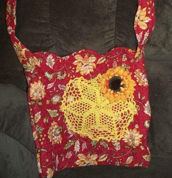 Chic Red And Yellow Sunflower Bag by UpcycledRecycled4u on Etsy, $23.00