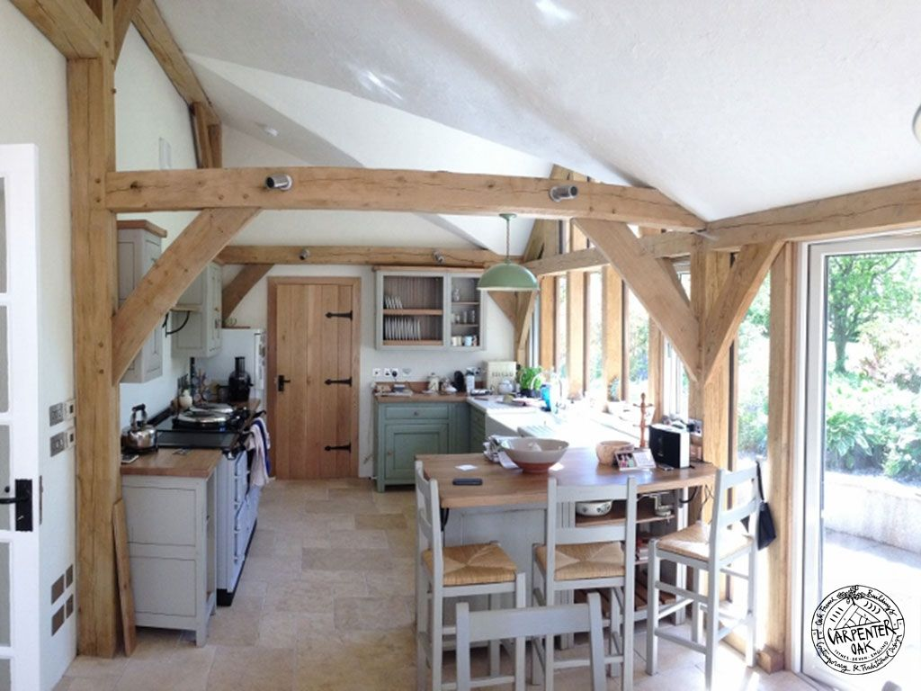 Kitchen interior oak framed extension inglis the black for Cottage kitchen extensions