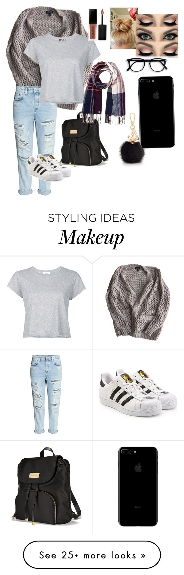 """<3"" by autumn1113 on Polyvore featuring Topshop, RE/DONE, adidas Originals, Smashbox, Victoria's Secret, Furla and Lipsy"
