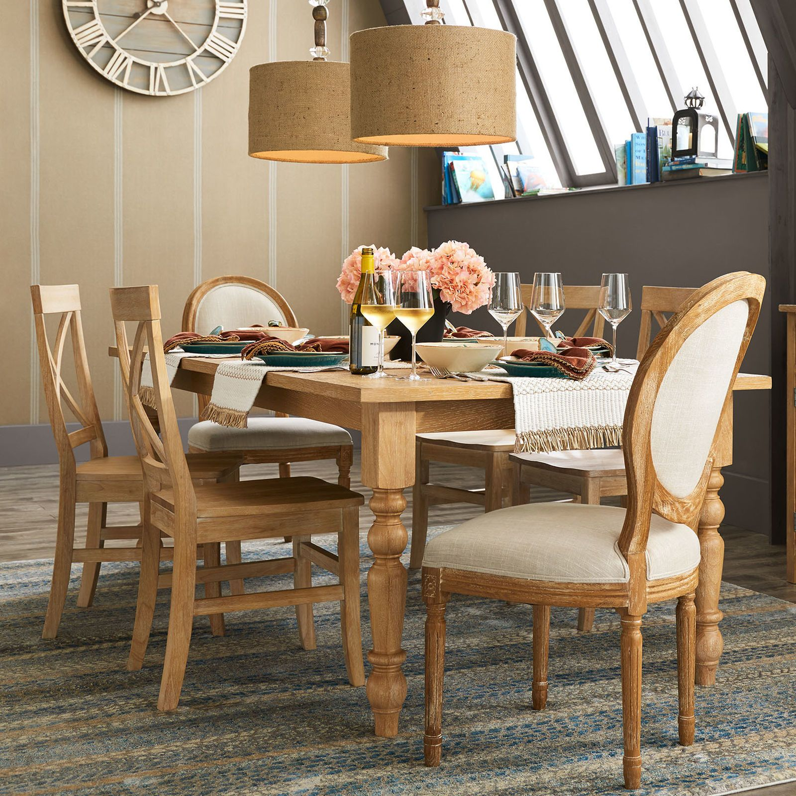 An Intriguing Mix Of Textures And Materials Gives Our Pendant Light An Interesting Style Wood And Glass Beads Lea Dining Table Legs Dining Table Dining Chairs
