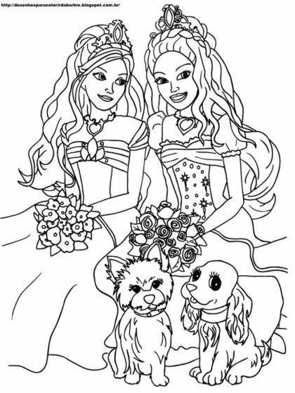 desenhos para colorir da barbie e teresa princesa   Värvimispildid ...