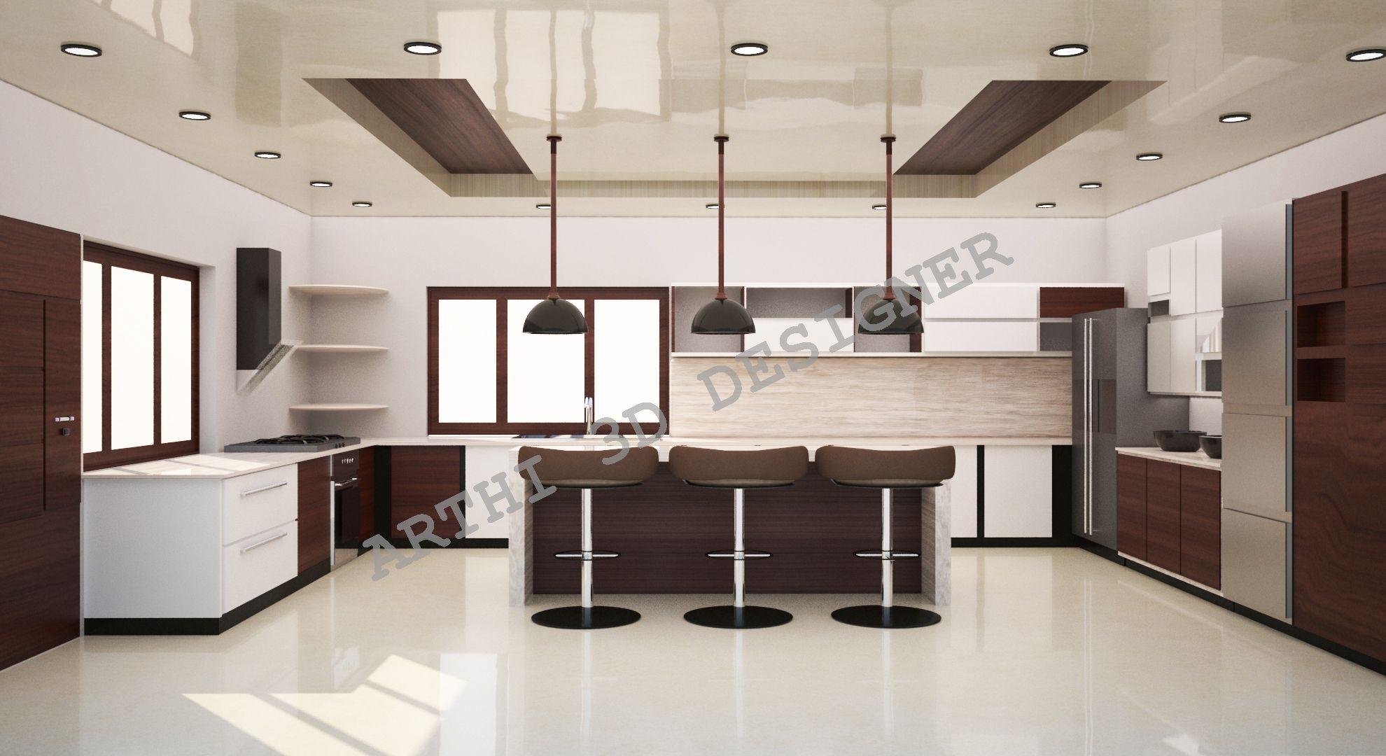 Realistic 3d Architectural Modular Kitchen Design Interior