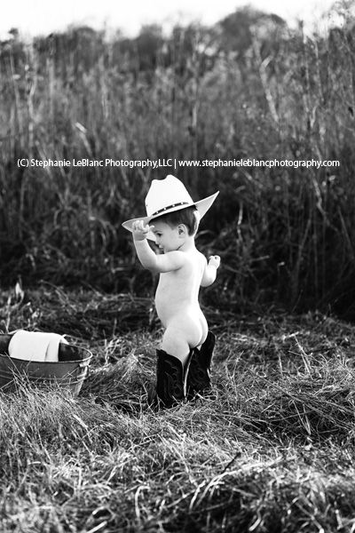 Outdoor portrait session baby cowboy