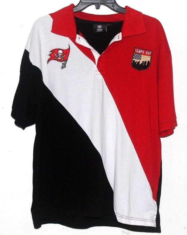 fb09a881 Tampa Bay Buccaneers NFL TEAM Apparel Mens Polo Shirt Red White Black XL # NFL #PoloRugby