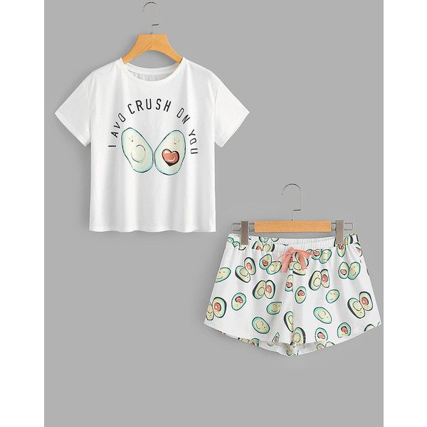 b72821afdc Avocado Print Top And Bow Front Shorts Pajama Set ( 12) ❤ liked on Polyvore  featuring intimates