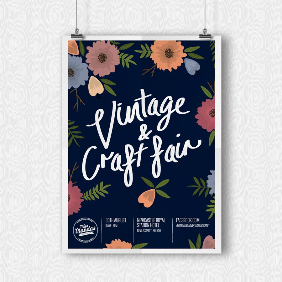 Poster design newcastle - Here S A Poster I Designed Recently For My Best Friend Manda S Vintage And Craft Fair In