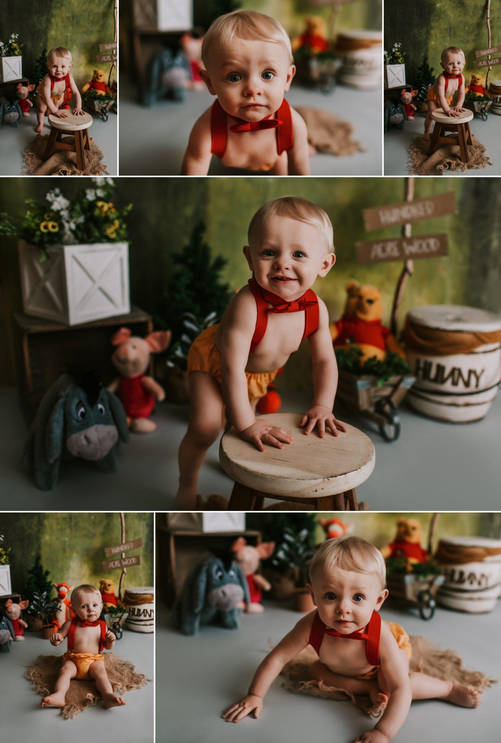 Pooh Birthday Session St Louis Wash Mo Cake Smash Photographer In 2020 Winnie The Pooh Cake Cake Smash Smash Cake Boy