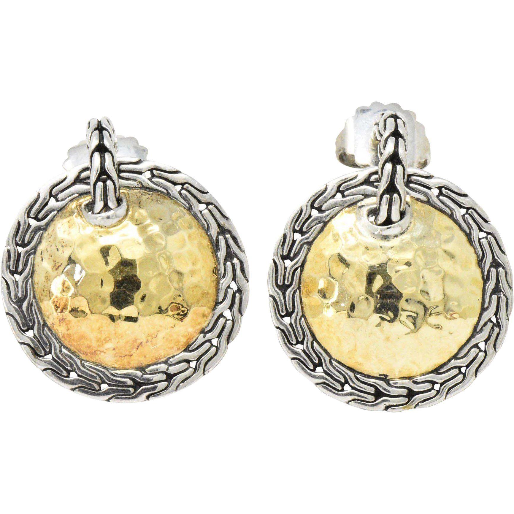 f45b2dfe5 John Hardy 22 Karat Gold Sterling Silver Classic Chain and Disc Earrings