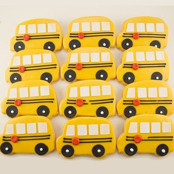 School Bus Decorated Sugar Cookies 12 Favors By TSCookies
