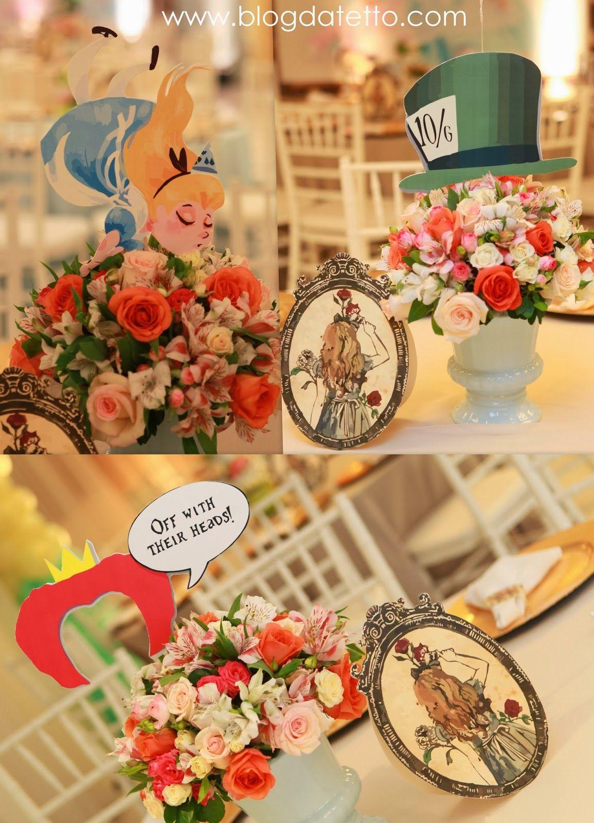 Meninas, A festa de 1 ano da Julia, com o tema Alice no País das Maravilhas, foi uma daque -> Decoração De Festas Com Xícaras