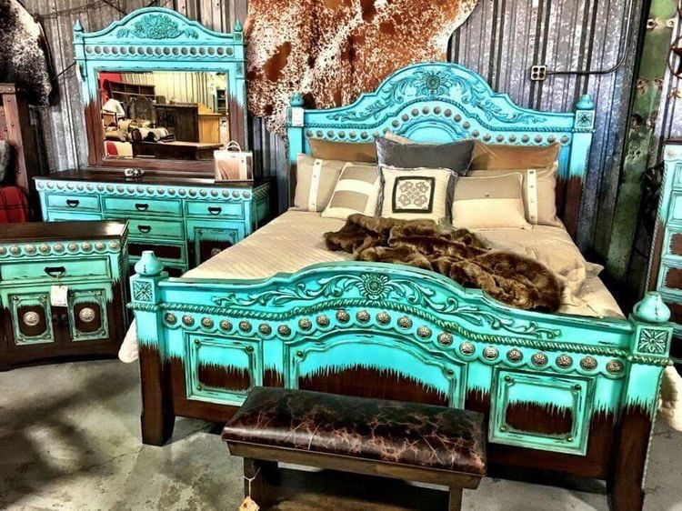 Gorgeous Turquoise Master Bed Bedroom Turquoise Rustic Bedroom Cowgirl Bedroom