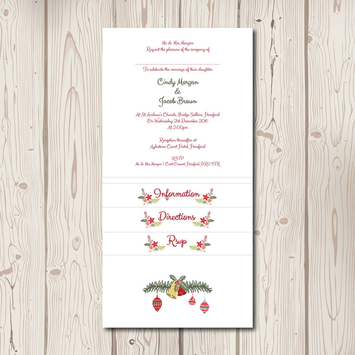 Christmas Pocketfold Wedding Invitations  £2.75–£3.25  This design features a festive, floral design framing your names, with delicate snowflakes, hanging baubles and a decorated stag. Perfect for any Christmas themed wedding.  All stationery is personalised free with your choice of wording and colours. Double sided matching evening invites are available from £1.50 each, ask for more details.  These printed pocketfolds are available for this price on white card, but all graphics can be…