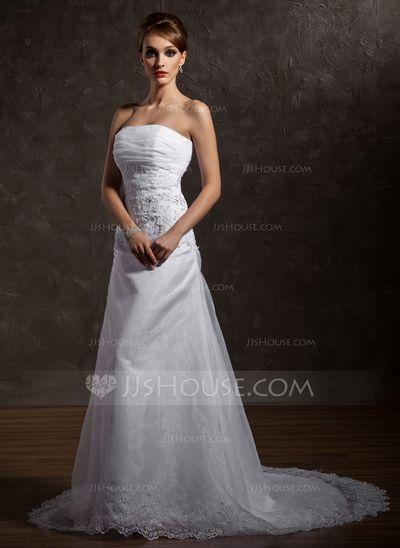 6a53523e73a9b Wedding Dresses - $194.69 - A-Line/Princess Strapless Chapel Train Organza  Satin Wedding
