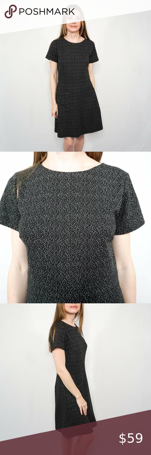 Loft Black White Marled Short Sleeve Knit Dress Maxi Dress With Sleeves Knit Dress Wrap Sweater Dress [ 1740 x 580 Pixel ]