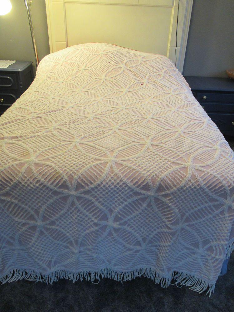 Chenille Bedspread Vintage Pink White Fringe King Size 76 x 98