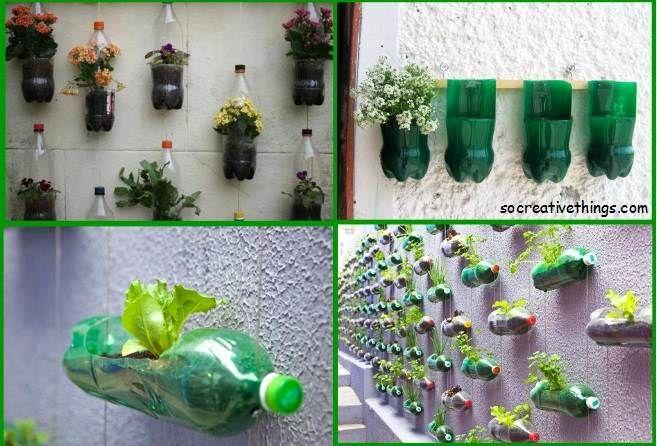 Simple planter ideas for small gardens plastic bottles diy garden ideas recycled materials - Plastic bottle vertical garden ideas ...