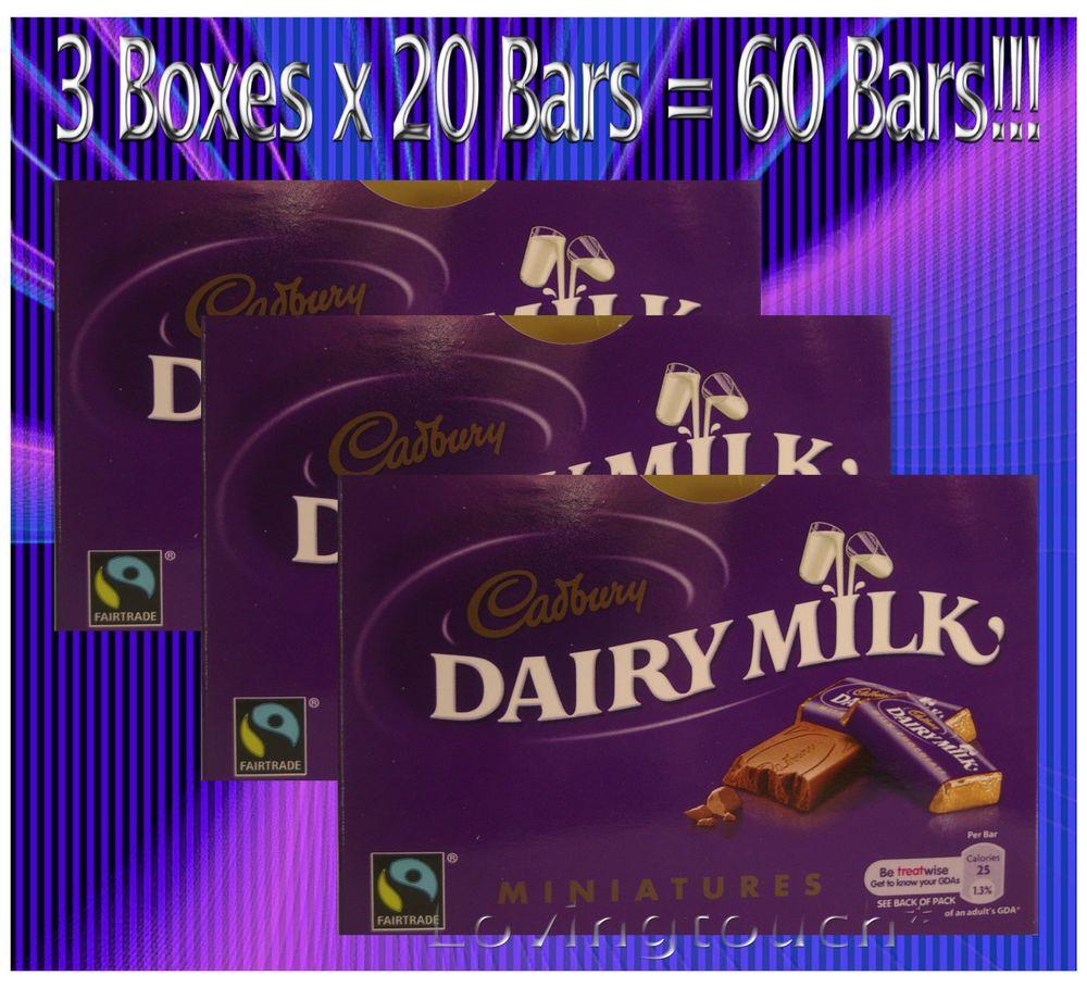 Cadbury dairy milk miniatures 3 x 20 boxes 60 wrapped milk