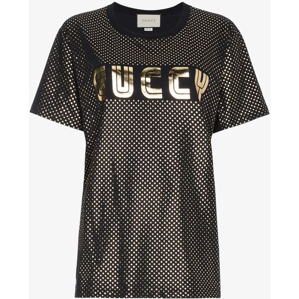 328bd9c1dfb Gucci Gold Metallic Logo T-Shirt ( 570) ❤ liked on Polyvore featuring tops