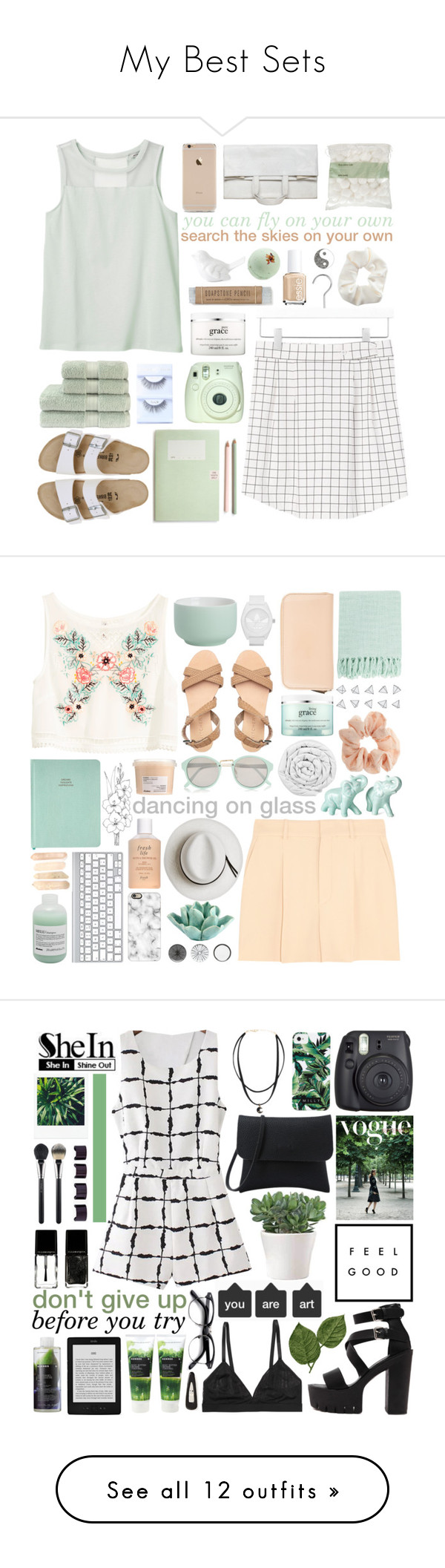 """""""My Best Sets"""" by glowing-eyes ❤ liked on Polyvore featuring Monki, Kate Spade, Birkenstock, Fuji, Essie, Christy, philosophy, Topshop, John Lewis and Maison Margiela"""