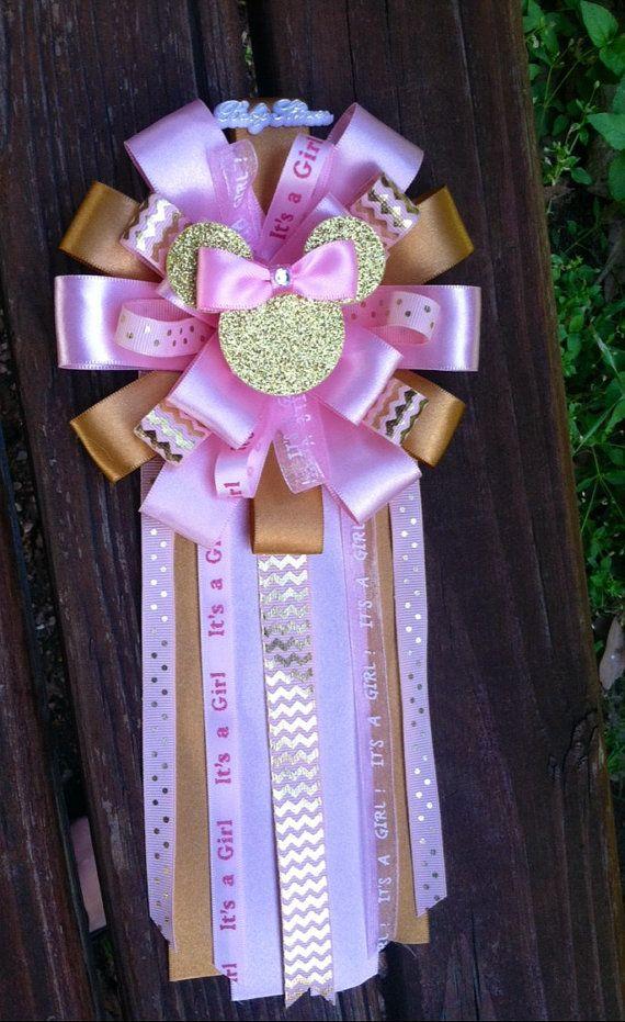 Ramillete De Oro Y Rosa De Minnie Mouse Duchas De Bebe Princesa