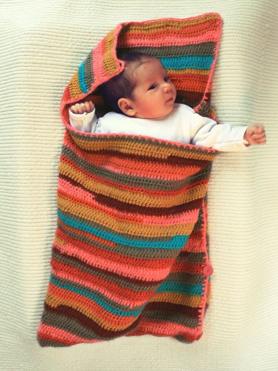 Sleep Sack Sleeping Bag For Baby Crocheted Striped
