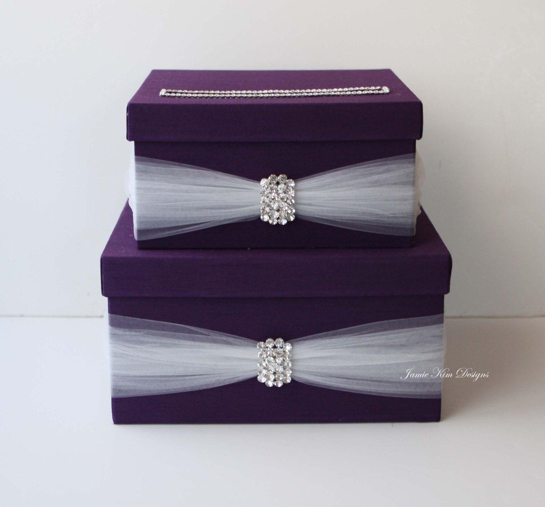 Satin wedding card box with royal blue flower and rhinestone mesh trim - Wedding Card Box Money Box Wedding Gift Card Money Box Custom Made To Order By