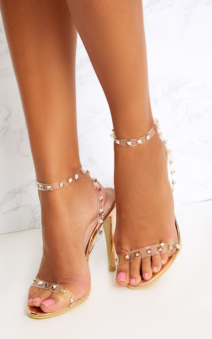 dc0ebced430f Rose Gold Clear Strap Studded Strappy Heels
