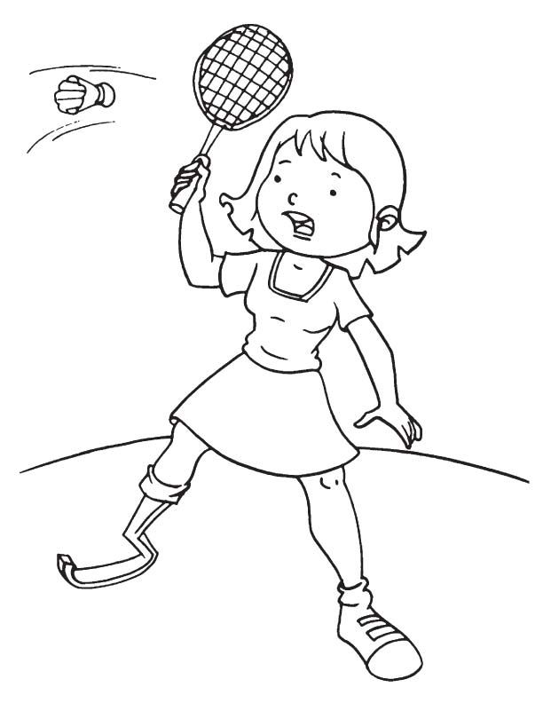 Disabled girl playing badminton coloring page | School