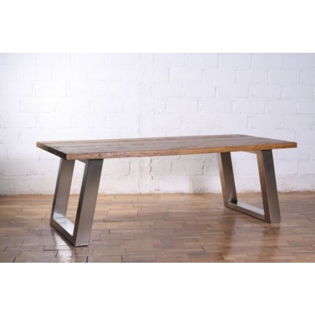 3m Reclaimed Pine Industrial Chic Table   Stainless Steel Legs