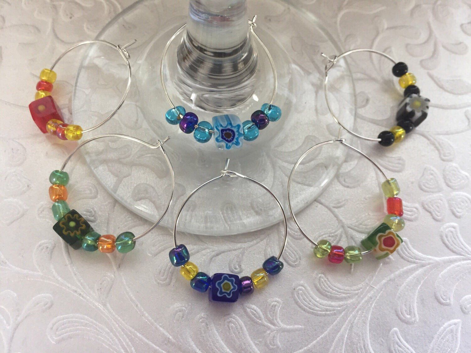 Set of 6 Beaded Wineglass Charms in an Organza Gift Bag