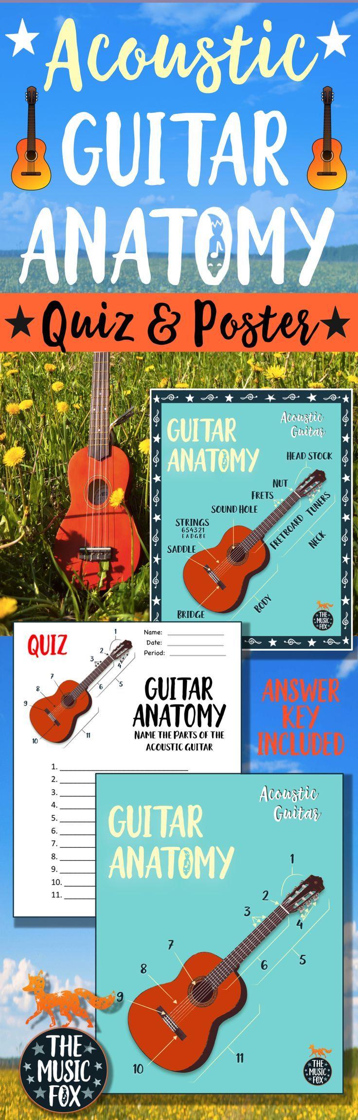 ACOUSTIC GUITAR Anatomy Poster *COLOR & B+W* (Grades 3-12) | Smart ...
