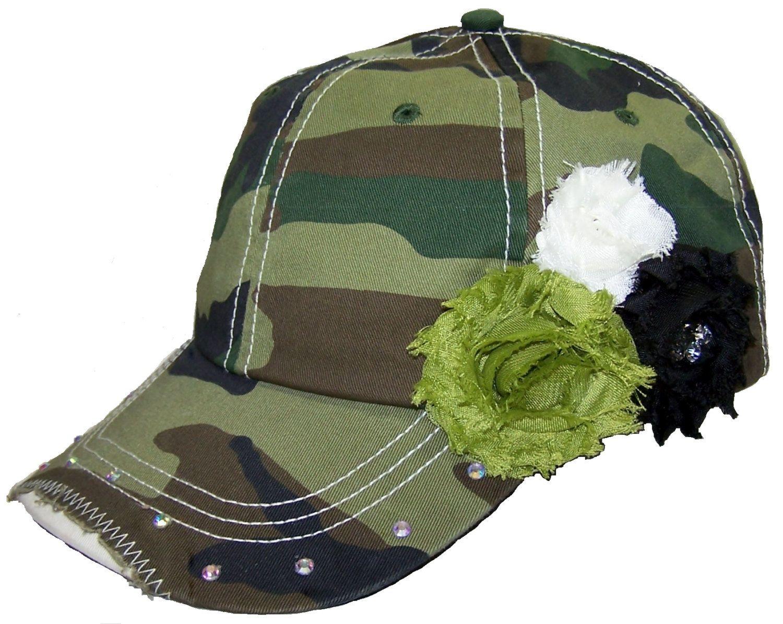 a582edbc8 Green Camo Baseball Cap, Distressed Camouflage Baseball Hat ...