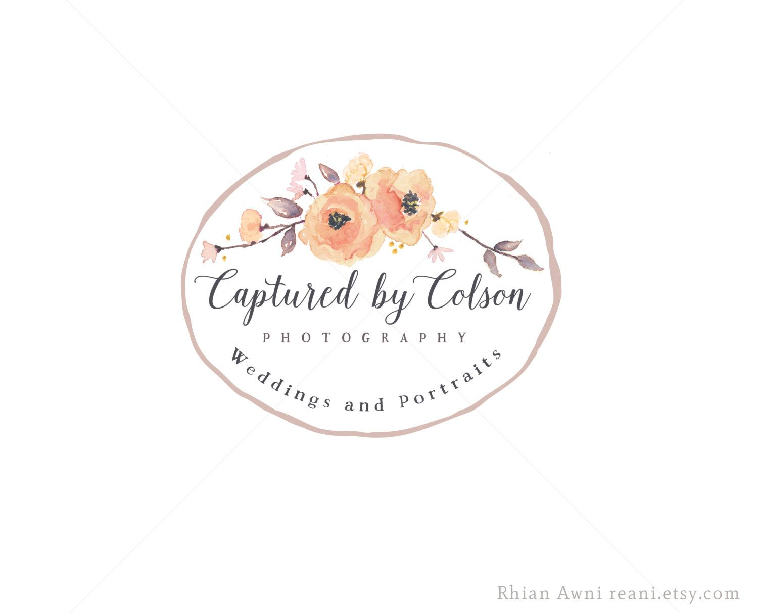 Watercolor Logo Design - Custom Branding Package Watermark Business ...
