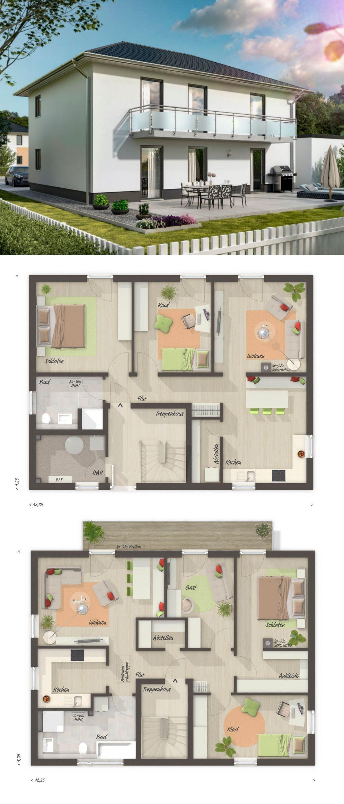 modernes zweifamilienhaus grundriss mit einliegerwohnung walmdach architektur massivhaus. Black Bedroom Furniture Sets. Home Design Ideas