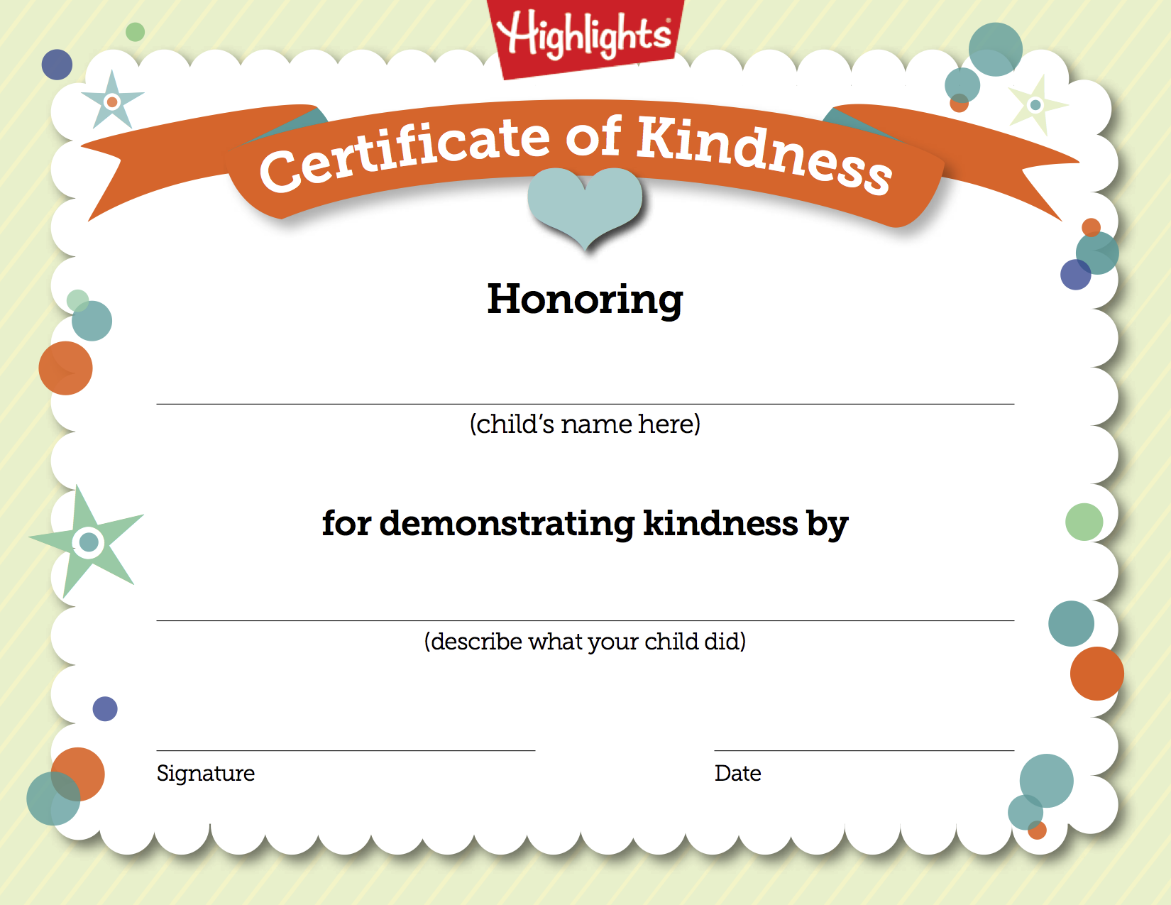 free printable certificate to recognize kindness - Children Printables